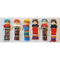 Two inch girl worry dolls - dozen