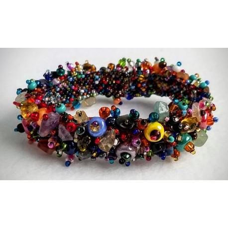 Bracelet bead stone chip Multicolor
