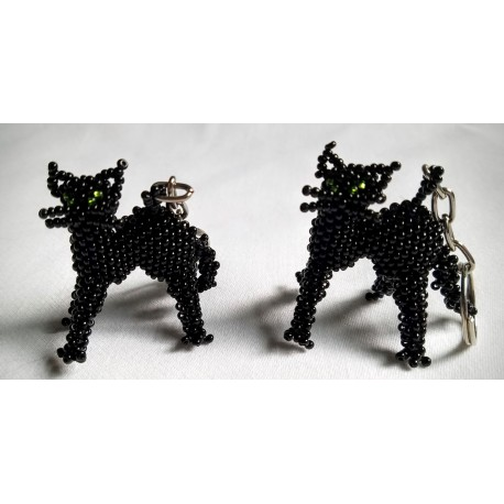 Keychain bead cat back arched