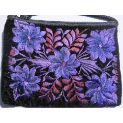 coin purse velvet embroidered with shoulder strap