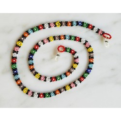 eyeglass cord bead daisy chain with tube beads