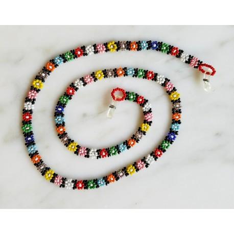 eyeglass cord bead daisy chain with tube beads