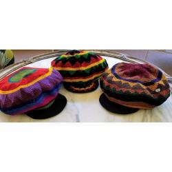 Hat cotton tam with brim large
