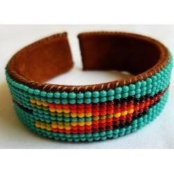 bracelet bead native american style leather cuff