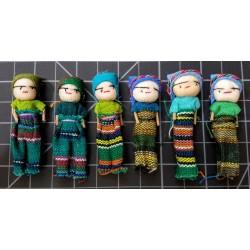 Worry Dolls - one dozen 2 inch girls GREEN