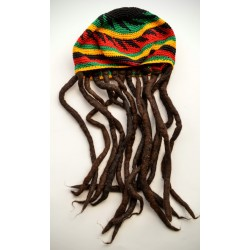Hat cotton rasta tam with dreadlocks